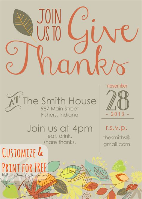 free thanksgiving dinner invitations templates happy