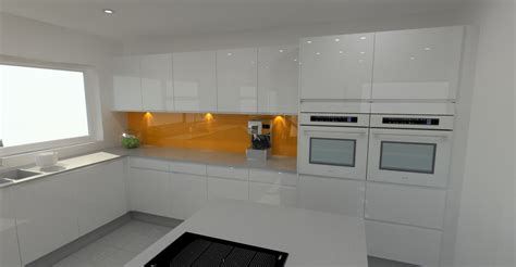 high gloss white kitchen with orange splashback