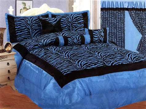 11 pc satin medium blue black flocking zebra pattern