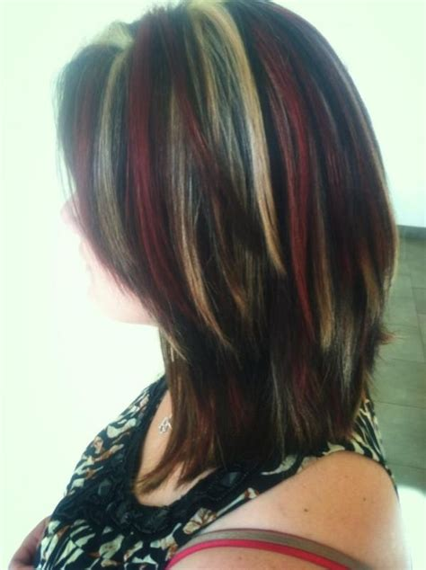 pictures of edgy blonde red red blonde and brown chunky highlights edgy extreme hair