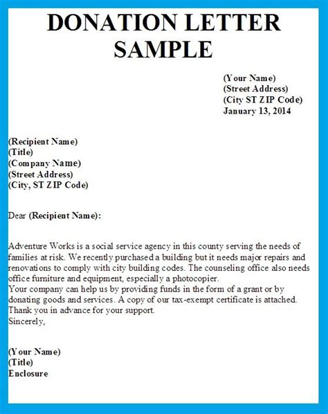 format of charity letter sle letters asking for donations images