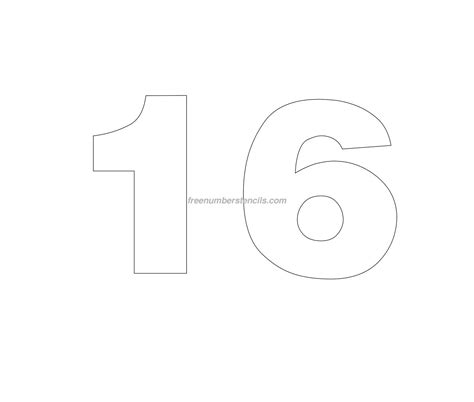 number 16 template helvetica number stencils archives freenumberstencils