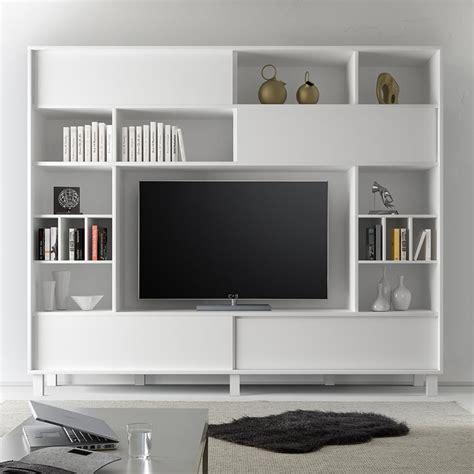 Design Meuble Tv by Meuble Tele Mural Design Blanc Laque Mat Sofamobili