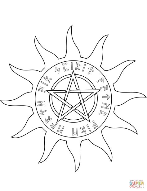 wiccan pentagram   elements coloring page