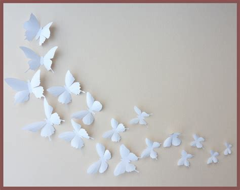 3d Wall Butterflies 30 White Butterfly Silhouettes Nursery Butterfly Wall Decor For Nursery
