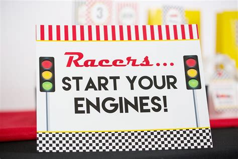 Start Your Engines by Race Car Birthday Printables And Invitation