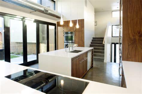 modern walnut kitchen cabinets houzz walnut and white kitchen modern kitchen denver by