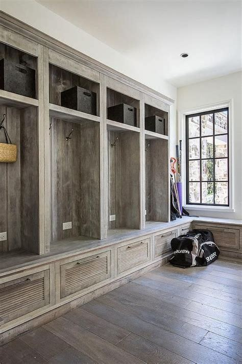 rustic country mudroom features  wall  built  lockers