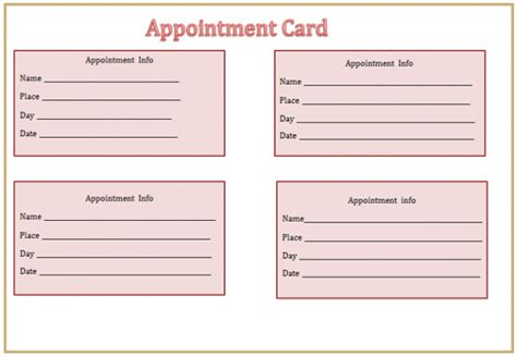 appointment card template publisher appointment card template essential gallery helendearest