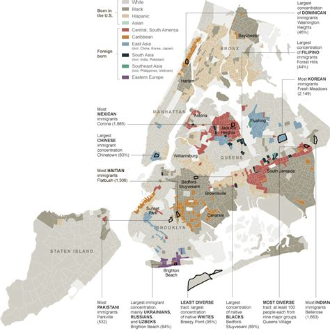 map of new york city with neighborhoods then as now new york s shifting ethnic mosaic nyt 1