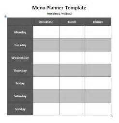 template for menu planning menu planner template format template