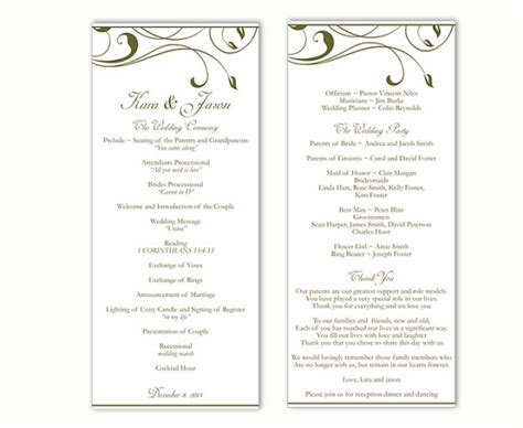 word templates for wedding programs wedding program template diy editable word file instant