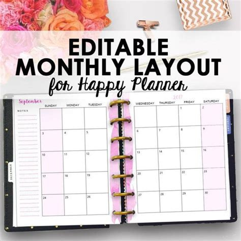 happy planner monthly printable best 25 monthly planner printable ideas only on pinterest