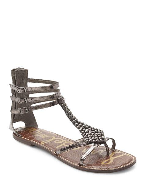 sam edelman sandal lyst sam edelman pewter embellished gladiator