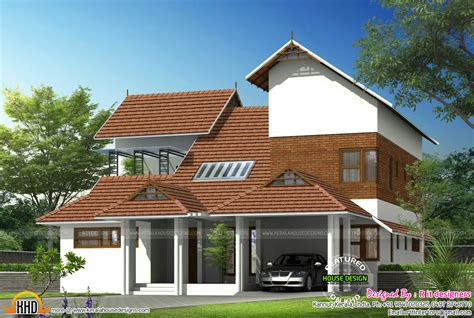 Modern mix sloped roof home   Kerala home design and floor