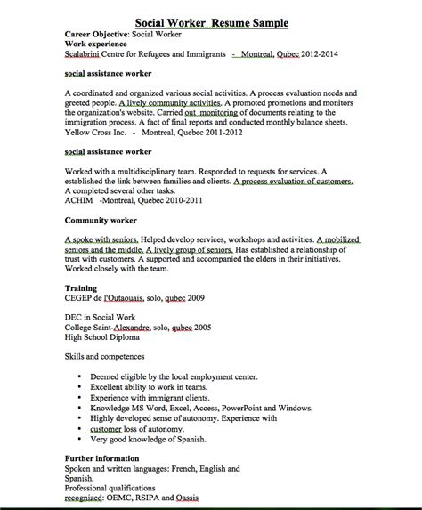 social work resume sles social worker resume template resume and cover letter