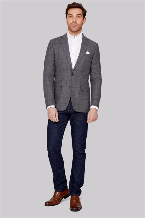Promo Jaket Original Lazaura Grey moss 1851 tailored fit grey with navy windowpane jacket
