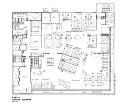 layout plan interior 99c offices by inhouse brand architects feature a waiting