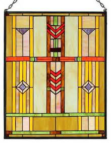 Arts and crafts prairie window stained glass panel craftsman stained