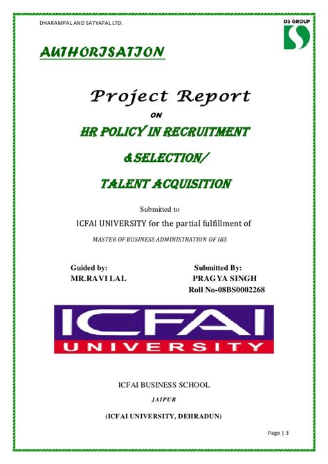 Icfai Mba Certificate by Sip Project Report