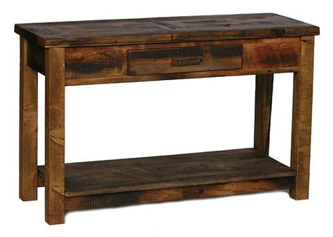 pine sofa table with drawers weathered pine sofa table w 1 drawer shelf lodge craft