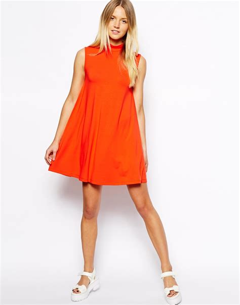 Dress Turtle V Neck asos exclusive turtle neck swing dress in orange lyst