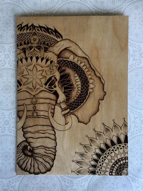 pyrography elephant stippled design  door