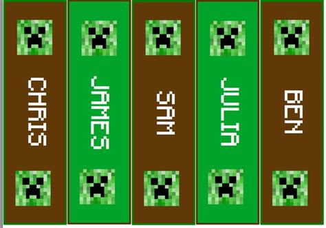 printable bookmarks minecraft personalized minecraft bookmarks digital party favors
