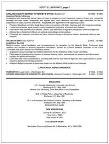 Attorney Resume Exles by Resume Sles District Attorney Resume
