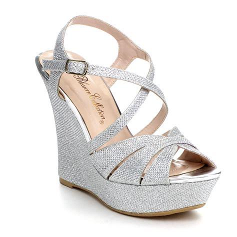 dress wedge sandals blossom baja 3 s glitter strappy criss cross