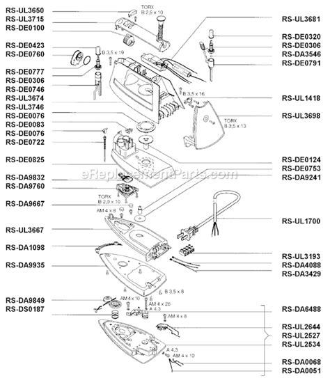 rowenta iron parts diagram rowenta de87 1 parts list and diagram ereplacementparts