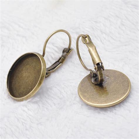 bezels for jewelry e070012 2 antique bronze lever back earrings blank