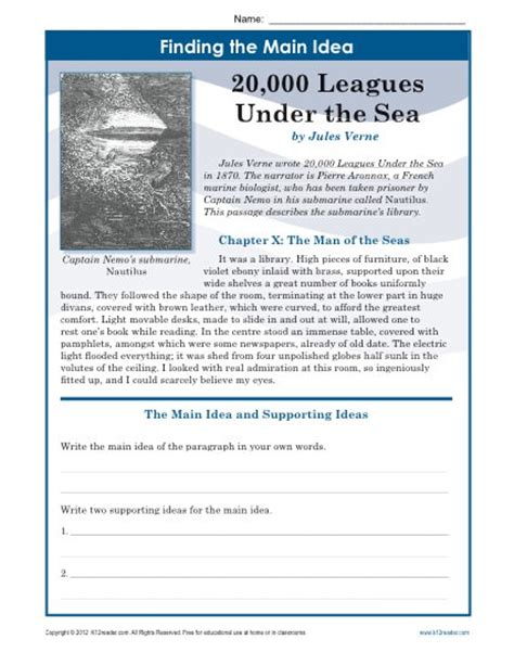 Middle School Idea Worksheets by Middle School Idea Worksheet About 20 000 Leagues