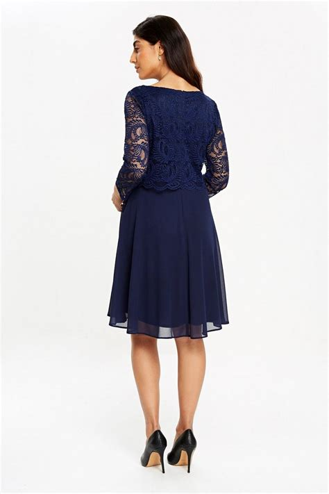 Sleeve Fit Dress navy lace sleeve fit and flare dress wallis