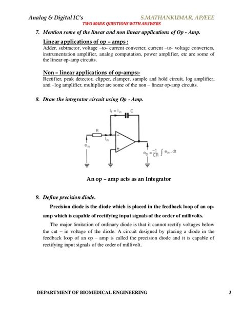 integrated circuit problems analog digital integrated circuits material answers