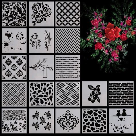 scrapbooking stencils and templates flower pattern layering scrapbooking painting