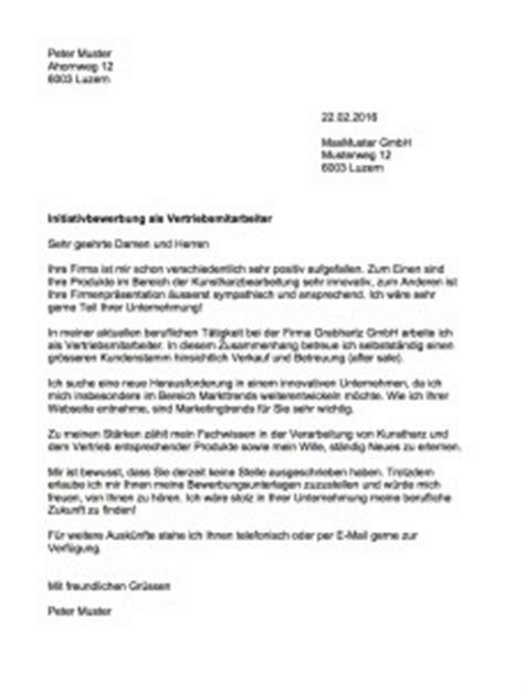 Schweiz Brief Senden Initiativbewerbung Muster Vorlage Ch