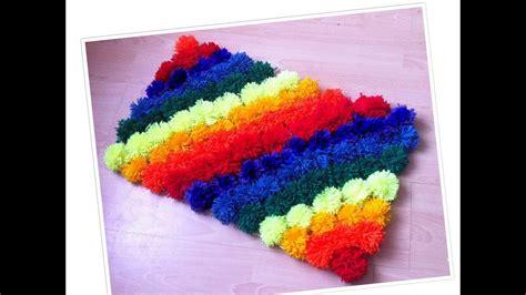 create a rug rainbow pom pom shag rug diy how to make a rug at home diy rug 2017