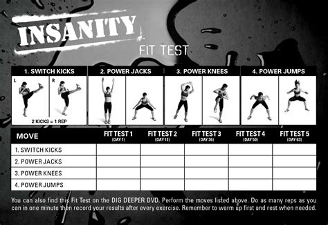 Insanity Fit Test Worksheet Pdf insanity fit test review dig deeper
