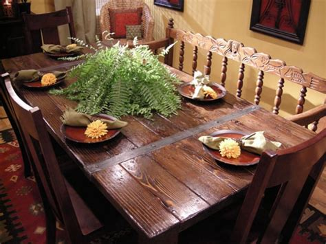 build a dining table from salvaged materials hgtv