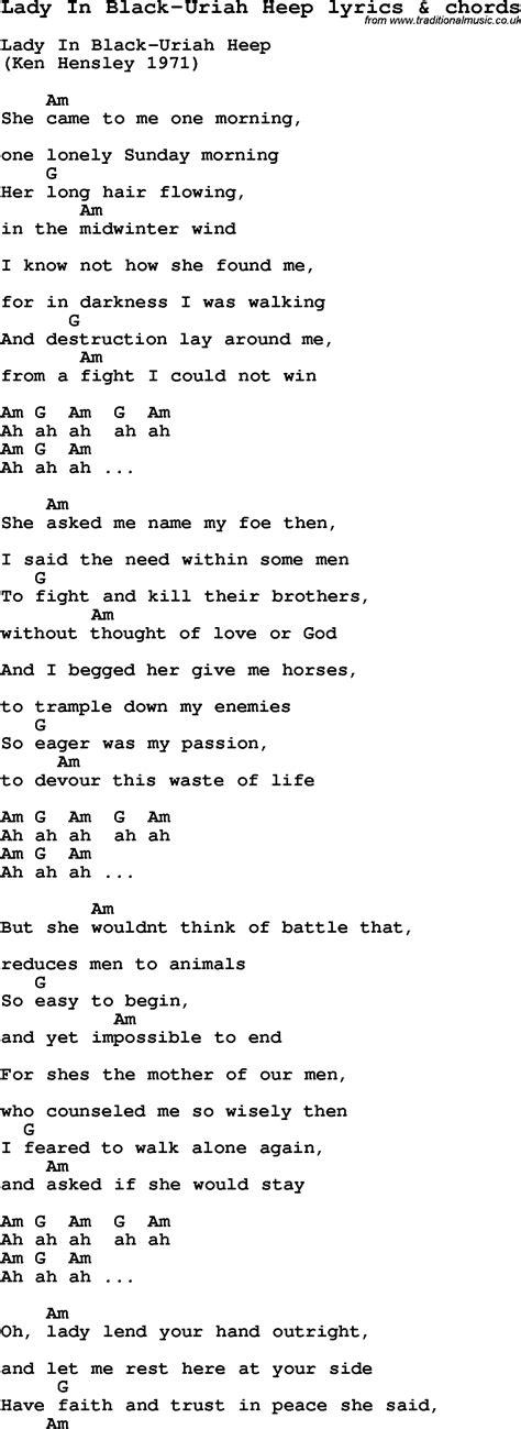 in lyrics song lyrics for in black uriah heep with chords