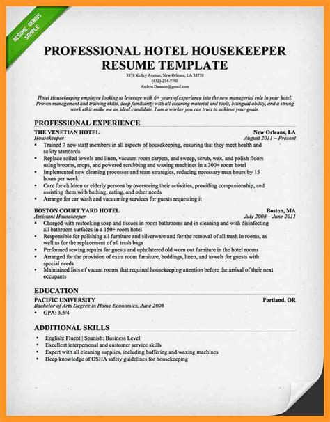 Example Resume For Housekeeping Position by Resume Samples For Housekeeping Jobs Bio Letter Format