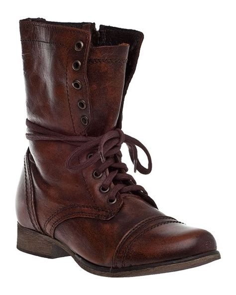 steve madden troopa lace up boot brown leather in brown