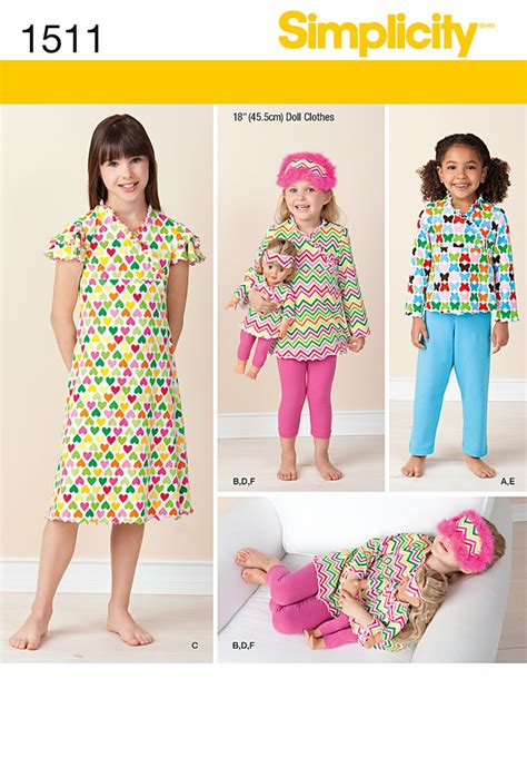 simple pattern matching simplicity 1511 child and 18 quot doll matching loungewear
