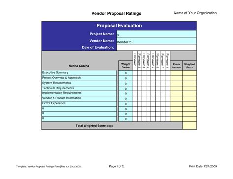 rfp scoring matrix template 10 best images of vendor evaluation form rfp