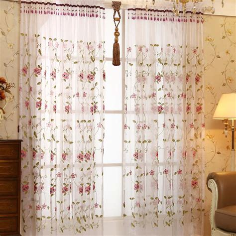 sheer curtains with beads white floral pastoral embroidery elegant beads custom