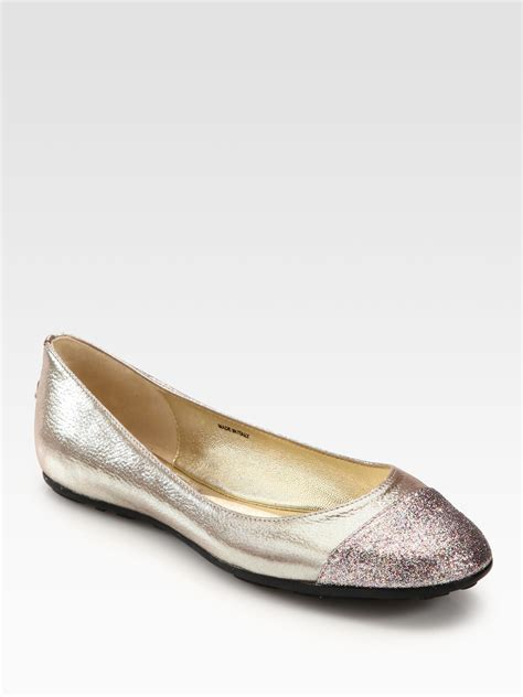 glitter shoes flats jimmy choo whirl glitter metallic leather ballet flats in