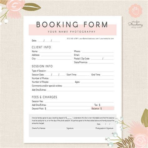 Booking Form Template Free photography forms client booking form for by