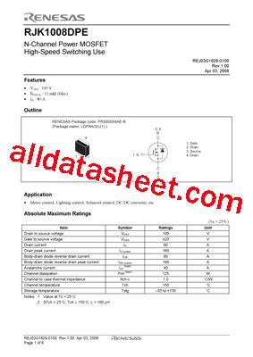transistor j3 datasheet rjk1008dpe 00 j3 データシート pdf renesas technology corp