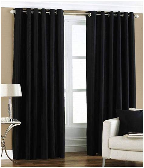 black long curtains livvin plain solid crushed black long door polyester